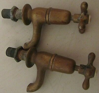 Pair Brass Hot Cold Water Faucets Architectural Salvage Vintage Bathroom Kitchen