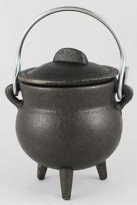 "Plain Cast Iron Cauldron 3"" with Lid and Carrying Handle"
