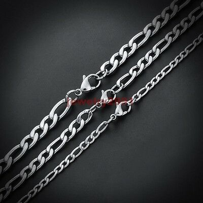 """18""""-36"""" Wholesale Lots Silver Stainless Steel Figaro Chain Necklace In Bulk HOt"""