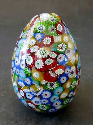 Vintage 'MURANO' ART GLASS MILLEFIORE EGG SHAPED PAPERWEIGHT + stand