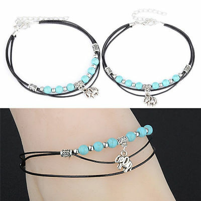 """""""Elephant"""" Antique Silver with Turquoise Beads Anklet Ankle Bracelet Beach Foot"""