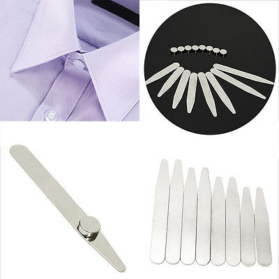 Stainless Steel 8 Polished Metal Collar Stays + 8 Magnets for Men's Dress Shirts