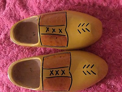 Vintage Dutch  Woodern Decrotive Yellow Painted Clogs Size 37/38Uk 4/5 Freepost