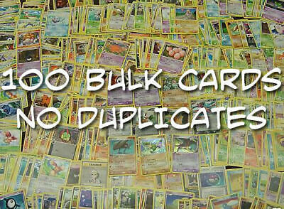 100 Pokemon Cards Bulk Lot CHRISTMAS GIFT No Doubles Common/UC inc 21 Rares TCG