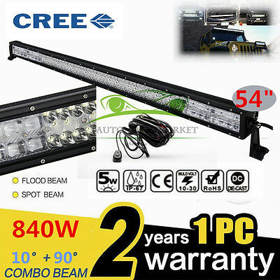 840W 54INCH CREE Light Bar LED Combo Work Light Bar Offroad Driving Lamp 4WD SUV