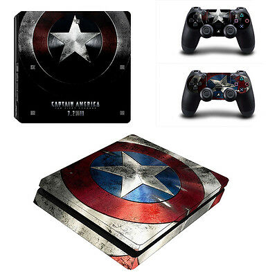 Captain America Skin Sticker for PS4 Playstation4 Slim Game Console Controller
