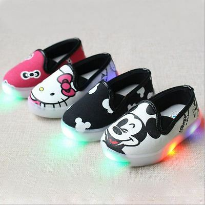 UK Led Kids Children Boys Girls Light Up Sneakers Canvas Luminous Shoes Trainers