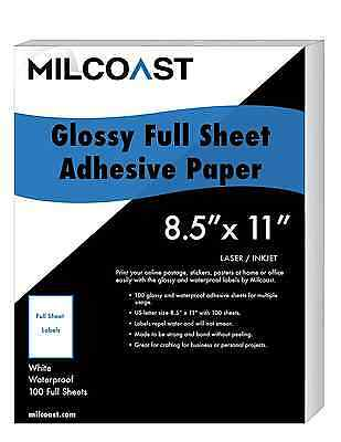 """Milcoast Full Sheet 8.5"""" x 11"""" Shipping Sticker Paper Adhesive Labels Glossy"""