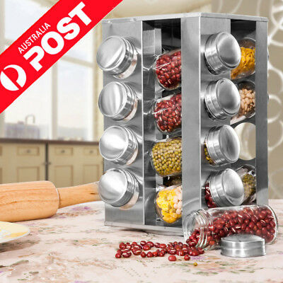 Stainless Steel Square 16 Jar Revolving Spice Rack Stand Carousel Rotating Glass