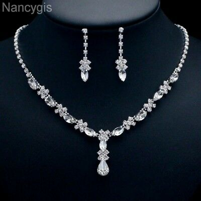 Silver Crystal Drop Necklace and Earrings Party Bridal Wedding Jewellery Set