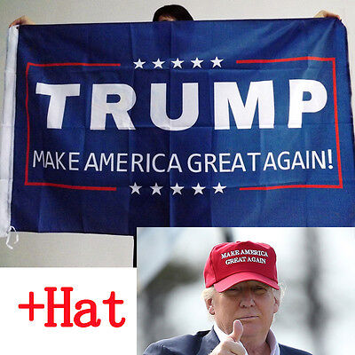 Donald Trump Hat +Flag Make America Great Again 2016 Republican Win EMBROIDERED