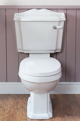 Traditional White Ceramic Closed Coupled Bathroom Toilet, Seat, Pan & Cistern