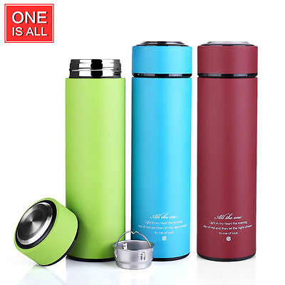 Stainless Steel Vacuum Cup Insulated Thermos Bottle Mug with Tea Infuser 15oz