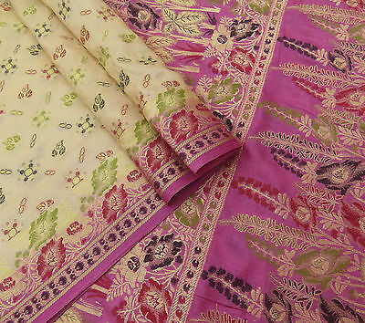Vintage Saree Pure Silk Woven Beige Craft Fabric Ethnic Indian Antique Art Sari