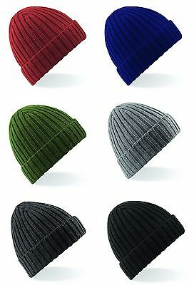 Beechfield Chunky Ribbed Crofter Winter Cuffed Turn Up Wooly Unisex Knit Beanie