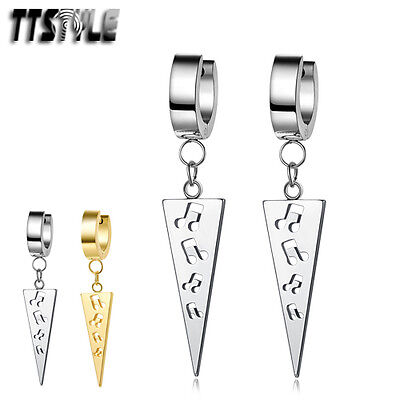 TTstyle Stainless Steel Hoop Dangle Music Sign Earrings Silver/Gold NEW