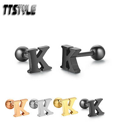 TTstyle Surgical Steel Letter K Fake Ear Cartilage Tragus Earrings 3 Colours NEW