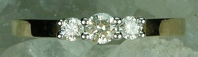 NEW Genuine Solid 18CT Yellow Gold Real Natural Diamond Trilogy Ring  Size L - N