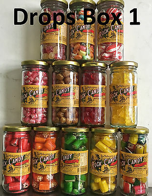 12 Jars, Drops Box 1: Raspberry & Fizzy Cola Drops, Butter Balls, Boiled Candy
