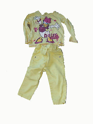 Girls Clothing Yellow Jeans & Disney Daisy Duck Long Sleeve Yellow Top 9-18 Mont