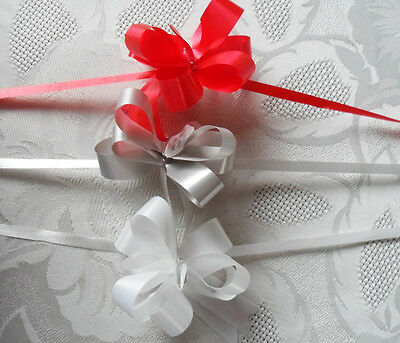 small Pull Bow Red / white or silver pack 10