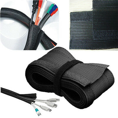 """72"""" Power Cable Velcro Management Sleeve Wrap Wire Weave Cord Organizer Cover TV"""