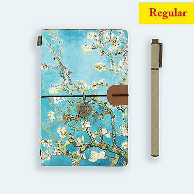 Genuine Leather Journal Travel Diary Travelers Regular Size Almond Blossom
