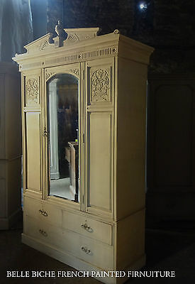 Large Antique Gustavian Style Mirrored Armoire / Wardrobe- Hand Painted