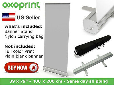 """Retractable Roll Up Banner Stand 39"""" x 79"""" Display Trade Show (No Print)"""