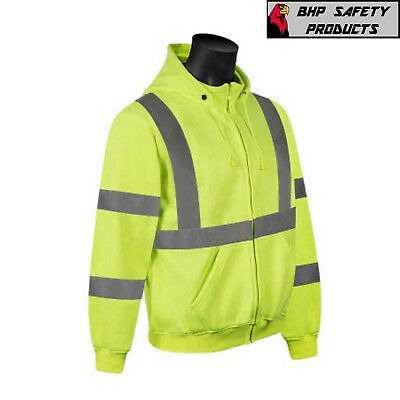Hi Vis Hooded Sweatshirt Class 3 Safety Hoodie Road Work HIGH VISIBILITY LIME