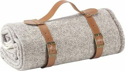 Wool Travel Blanket With Leather Carrier Taupe