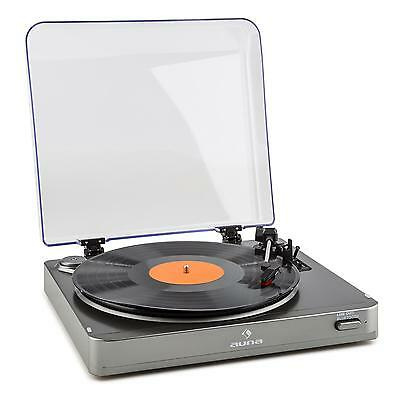 Auna Vinyl Player Record Turntable Portable Bluetooth Transmitter 3 Speed Silver