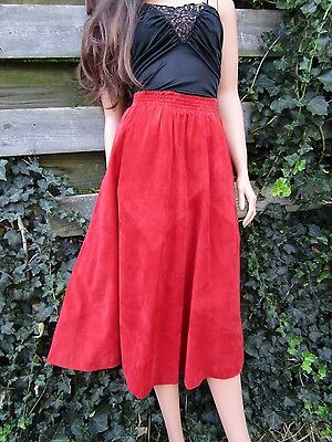Vtg 70s Brick Red SUEDE Mexican Leather Volume Midi Skirt Neiman Marcus XS S