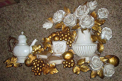 Vintage Homco Wall Plaque Tea Pot Books Grapes Roses Ivory & Gold 1973