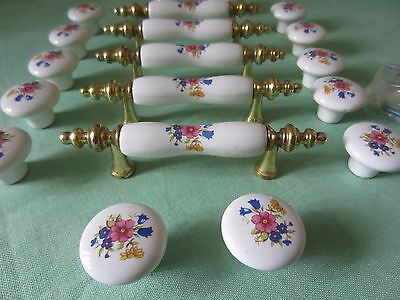 LOT~21 Items:14 Knobs/5 Handles~Brass/Porcelain Floral Design~Blue/Pink/Green/Yw