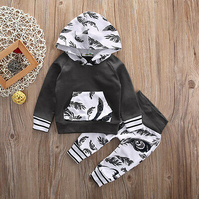 Newborn Kids Toddler Baby Boys Girls Outfits Clothes Hoodie Tops+Pants 2PCS Set