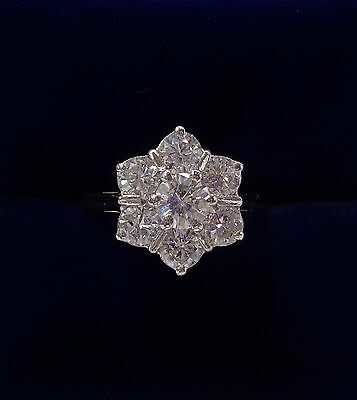 1.50ct Seven Stone Diamond Daisy Cluster Ring in 18ct Yellow Gold - Size O