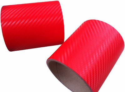 3D Carbon Fibre Textured Vinyl Car Wrap Red (Air/Bubble Free) 1520mm x 300mm