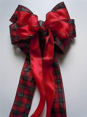 Cabin Christmas Bow Red Green Plaid Country Christmas Bow Wreath Door Swag Bow