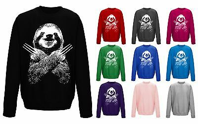 Kids Childrens Wolversloth Wolverine Sloth Funny Sweater Sweatshirt Jumper