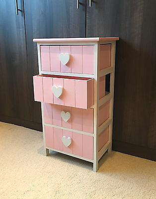 Pink White Chest Drawers Bedside Table Nightstand Girls Princess Heart Cabinet