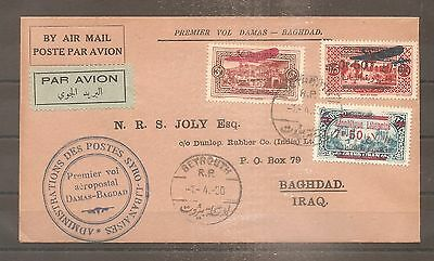 Lettre Lebanon Liban Beyrouth Damas Syrie To Iraq 1930 First Airmail Service