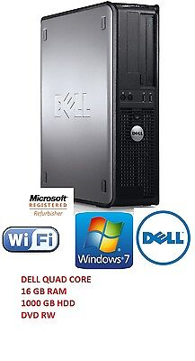 Dell Quad Core Desktop Pc 9.32Ghz 1Tb 16Gb Windows 7 Computer Tower Dvdrw
