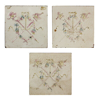 """Marvelous Antique Tiles with Torches, 6"""" x 6"""", 3 Available, NFT48"""