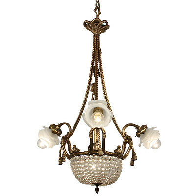 Fabulous Antique Gilded Bronze Chandelier with Prisms, From France, NC2174