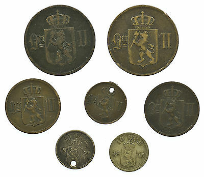 Norway, Collection Of 7 Coins, Norge, 1876-1899