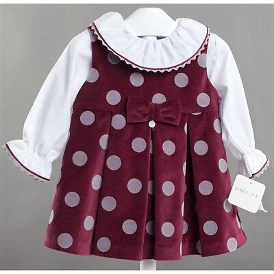 NEW AW16 BabyLai Traditional Spanish burgundy dress with white shirt, age 2 & 4!