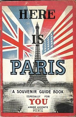 Original 1944 HERE IS PARIS Liberation Guide Book Metro Map Monuments France WW2