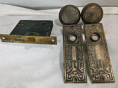 Vintage Eastlake Style Metal Door Knob 2 Backplates AND Lock Mortise Mechanism