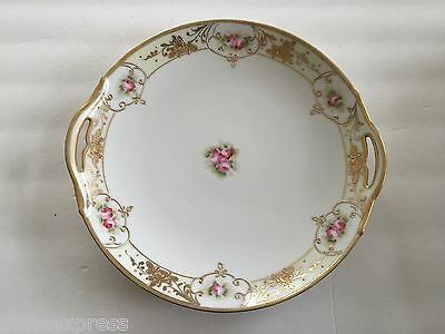 """Maruki China Nippon MAU3 Gold Encrusted Flowers, Pink Roses - 11"""" SERVING PLATE"""